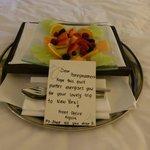 Fruit platter on arrival