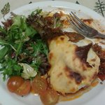 Lamb moussaka and a well-dressed salad