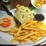 Chicken burger with bacon, cheese and jack Daniels sauce YUM