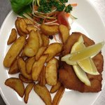 breaded fried cod with baked potatoes