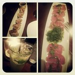 Shrimp Dumplings, Tuna Tataki & Asian Pear Mojito