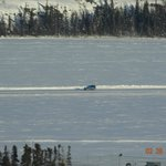 View of the ICe Road on Great Slave Lake from our balcony