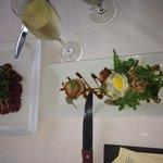 Elk carpaccio and scallop/pork belly appetizer