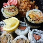 Worth stopping by for lunch! Dynamite lunch special with shrimp tempura and salmon rolls with an