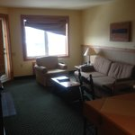 Room 329 - Living area - a bit shabby (note broken curtain) but clean