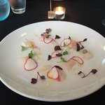 Coromandel Snapper with truffle oil, radish and micro herbs