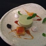 Avocado Mousse ... first sweet course with apple toffee sauce and brulee of pineapple, mini meri