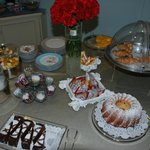 Hand made cakes and pastries for breakfast