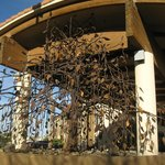 Metal tree sculpture at entrance