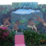 Mural in the backyard - the epitome of Golden Bay
