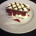 chefs pudding of the day - raspberry Mille -fuille