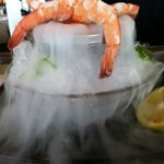 Shrimp cocktail served with dry ice
