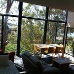 the living area overlooking vineyard