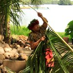 our awesome guide showing us how to make things with palm leaves
