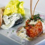 Salmon Tartare served with marinated cucumbers