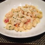 Scallop and shrimp pasta with cream sauce. Wonderful flavors.