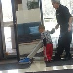 My son helping the staff clean. He had a blast!