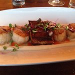 Scallops and pork belly floating on a cauliflower mousse!