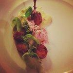 Quail with Cauliflower Puree,Fondant Potato, Raspberry