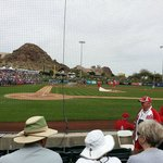 View from section 114, row F, on the Angels dugout side