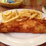 Special haddock and chips. Don't be fooled... There is no perspective here. It's huge!
