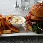 great chicken burger and chips