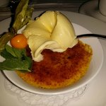 Creme Brulee with white chocolate ice-cream