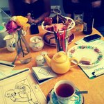 Afternoon tea and colouring in