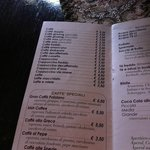 Parte del menù Caffetteria