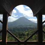 View of Arenal volcano from the upper Lobby