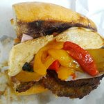Ham and eggplant sandwich w/house-made mozzarella, sauteed peppers, and balsamic