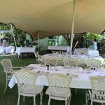 Inside the wedding tent