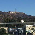 Hollywood sign from pool top