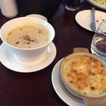 onion soup with mac n cheese