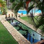 Koi pon and swimming pool at Hotel Hacienda Uxmal