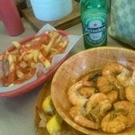 old bay shrimp with fries & beer YUMMY