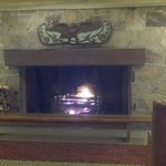 Welcoming fireplace in the lobby