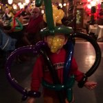 A youngster all ballooned up Mardi Gras week at Pearl's New Orleans Kitchen.