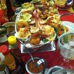 Shrimp platter! 6 kinds of shrimp. Bacon wrapped was excellent!