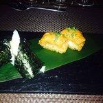 Argentina King Crab Hand Roll & Yellowfin Tuna on Crispy Rice