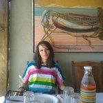 Mary enjoying a little lunch