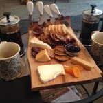 Cheese plate for two + two individual French press coffees. So decadent!