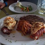Lobster, steak, fish of choice, potatoe and veggie