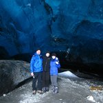 """Our group of amateur """"spelunkers"""" checking out the Crystal Ice Cave."""
