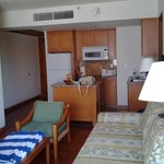 living kitchen area, grounds pool beach and lobby