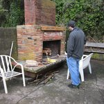 Outdoor fireplace at cabin #9