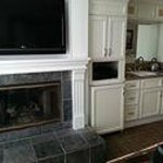 tv, fireplace, microwave, 2 burner stove & small refridge