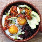 black turtle beans, basmati rice & chorizo topped with avocado & roast capsicum s