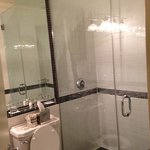 Beautifully tiled shower with rainfall shower head