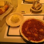 Ravioli with Meat Sauce, cold slaw, bread